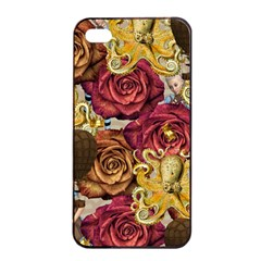 Octopus Floral Apple Iphone 4/4s Seamless Case (black)