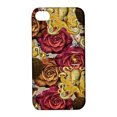 Octopus Floral Apple Iphone 4/4s Hardshell Case With Stand