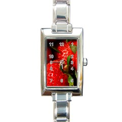 Red Strawberries Rectangle Italian Charm Watch