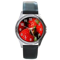 Red Strawberries Round Metal Watch