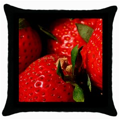 Red Strawberries Throw Pillow Case (black)