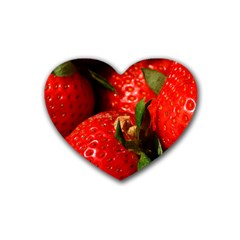 Red Strawberries Rubber Coaster (heart)