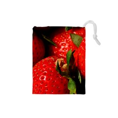 Red Strawberries Drawstring Pouches (small)