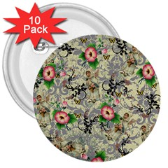 Angel Floral 3  Buttons (10 Pack)
