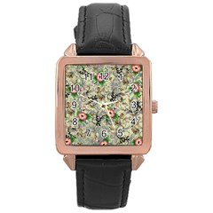 Angel Floral Rose Gold Leather Watch