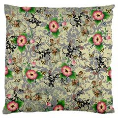 Angel Floral Large Flano Cushion Case (one Side)