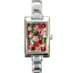 Rose Bushes Rectangle Italian Charm Watch