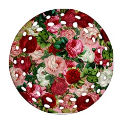 Rose Bushes Round Filigree Ornament (two Sides)