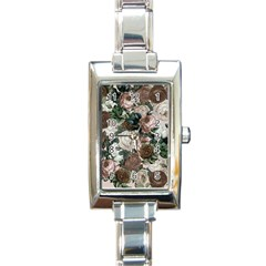 Rose Bushes Brown Rectangle Italian Charm Watch