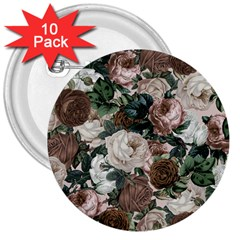 Rose Bushes Brown 3  Buttons (10 Pack)