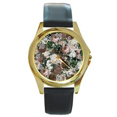 Rose Bushes Brown Round Gold Metal Watch