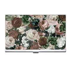 Rose Bushes Brown Business Card Holders