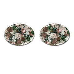 Rose Bushes Brown Cufflinks (oval)