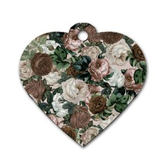Rose Bushes Brown Dog Tag Heart (two Sides)