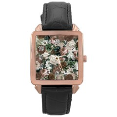 Rose Bushes Brown Rose Gold Leather Watch