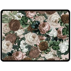 Rose Bushes Brown Double Sided Fleece Blanket (large)