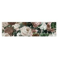 Rose Bushes Brown Satin Scarf (oblong)