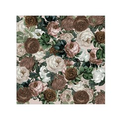 Rose Bushes Brown Small Satin Scarf (square)