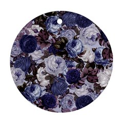 Rose Bushes Blue Ornament (round)