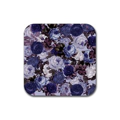 Rose Bushes Blue Rubber Coaster (square)