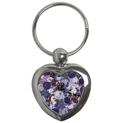 Rose Bushes Blue Key Chains (heart)