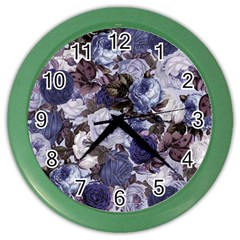 Rose Bushes Blue Color Wall Clocks