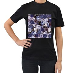Rose Bushes Blue Women s T Shirt (black)