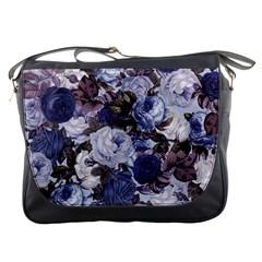 Rose Bushes Blue Messenger Bags