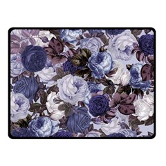 Rose Bushes Blue Double Sided Fleece Blanket (small)
