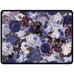Rose Bushes Blue Double Sided Fleece Blanket (large)