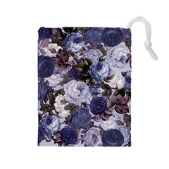 Rose Bushes Blue Drawstring Pouches (large)