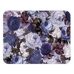 Rose Bushes Blue Double Sided Flano Blanket (large)