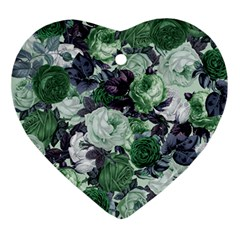 Rose Bushes Green Ornament (heart)