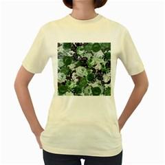 Rose Bushes Green Women s Yellow T Shirt