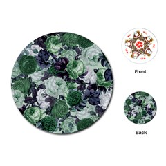 Rose Bushes Green Playing Cards (round)