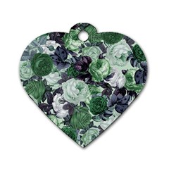 Rose Bushes Green Dog Tag Heart (one Side)