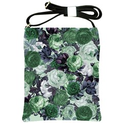 Rose Bushes Green Shoulder Sling Bags