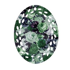 Rose Bushes Green Oval Filigree Ornament (two Sides)