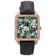 Rose Bushes Green Rose Gold Leather Watch