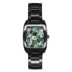 Rose Bushes Green Stainless Steel Barrel Watch