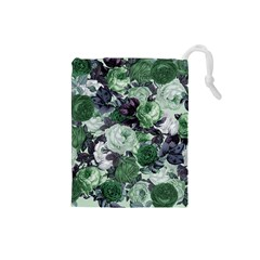 Rose Bushes Green Drawstring Pouches (small)