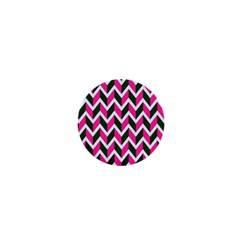 Chevron Pink Green Retro 1  Mini Buttons