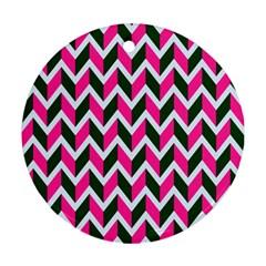 Chevron Pink Green Retro Ornament (round)