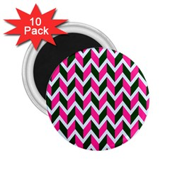 Chevron Pink Green Retro 2 25  Magnets (10 Pack)