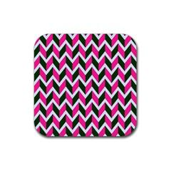 Chevron Pink Green Retro Rubber Square Coaster (4 Pack)