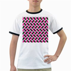 Chevron Pink Green Retro Ringer T Shirts
