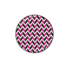 Chevron Pink Green Retro Hat Clip Ball Marker