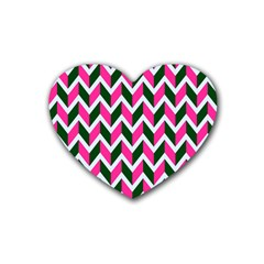 Chevron Pink Green Retro Rubber Coaster (heart)