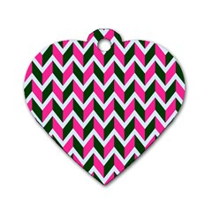Chevron Pink Green Retro Dog Tag Heart (two Sides)