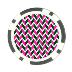 Chevron Pink Green Retro Poker Chip Card Guard